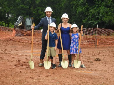 Breaking ground photo with family